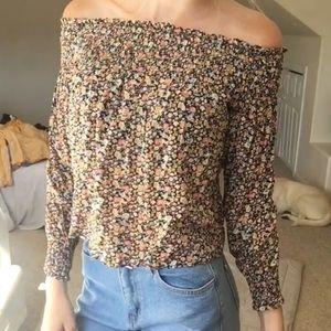 Floral off the shoulder long sleeve shirt